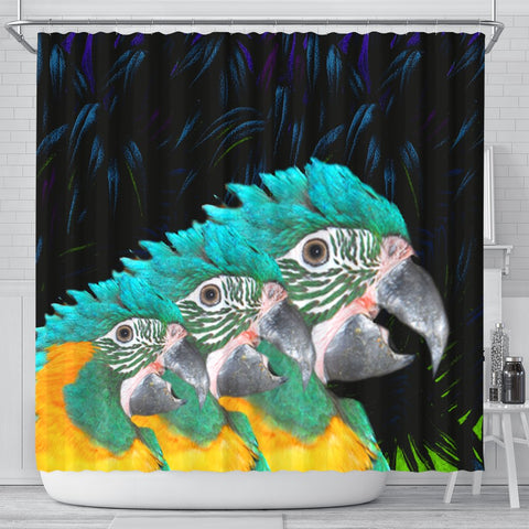 Blue Threaded Macaw Parrot Print Shower Curtains