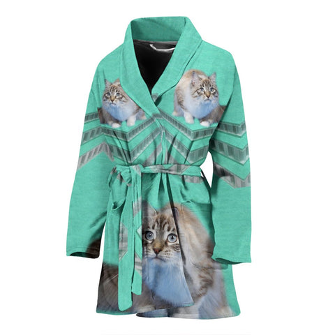 Ragamuffin Cat Print Women's Bath Robe