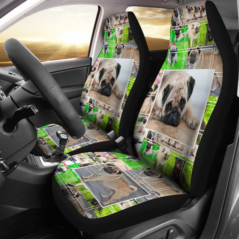 Cute Pug Dog Collage Print Car Seat Covers