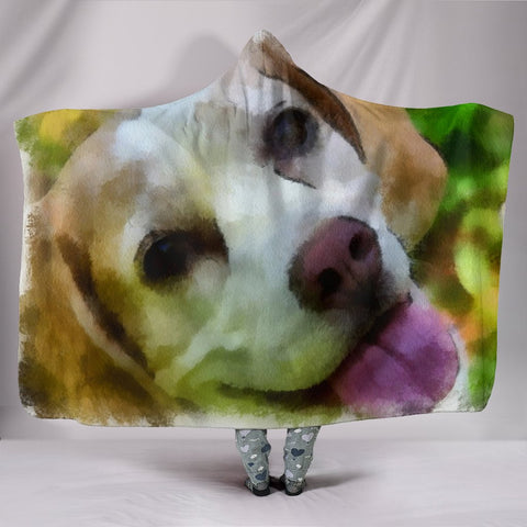 Beagle Dog Watercolor Painting Print Hooded Blanket