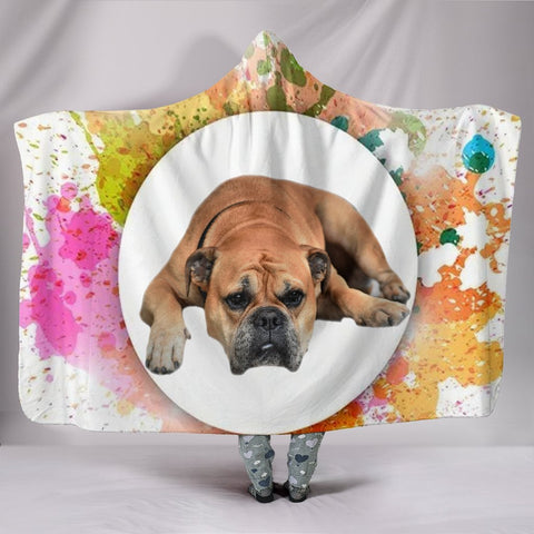 Colorful Bullmastiff Dog Print Hooded Blanket