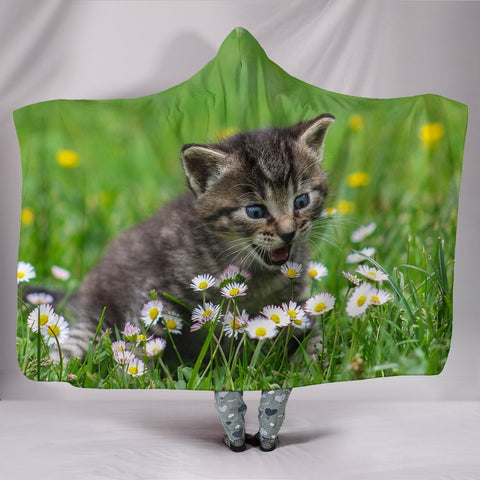 American Shorthair Cat Floral Print Hooded Blanket