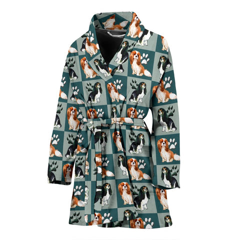 Caveliar King Charles Spaniel Dog Pattern Print Women's Bath Robe
