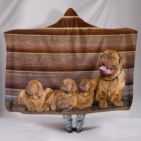Bordeaux Mastiff Print Hooded Blanket