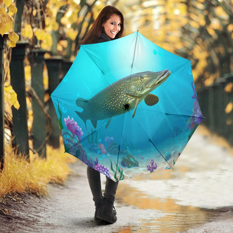 Amazing Northern Pike Fish Print Umbrellas