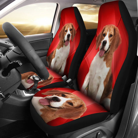 Amazing Beagle Dog Red Print Car Seat Covers