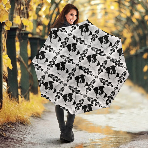 Border Collie Patterns Print Umbrellas