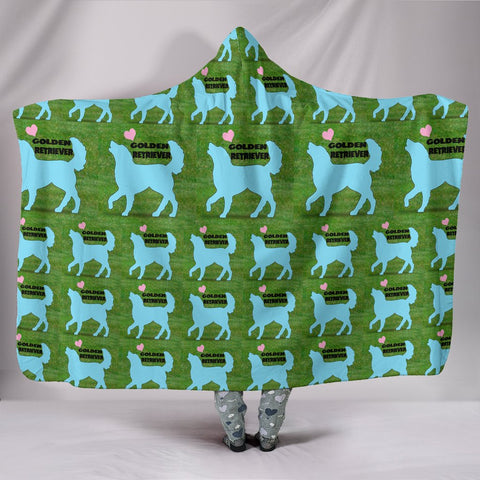 Golden Retriever Dog Pattern Print Limited Edition Hooded Blanket