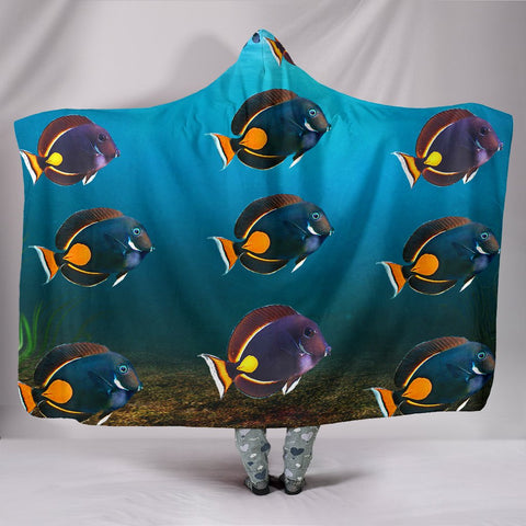 Acanthurus Achilles Fish Print Hooded Blanket