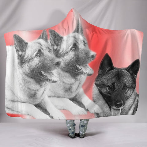 Norwegian Elkhound Dog Print Hooded Blanket