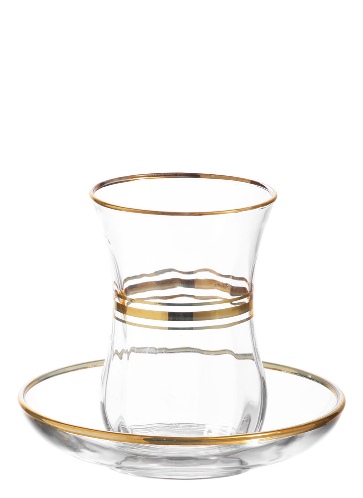 LAV Cay Authentic Turkish Tea Glasses Set with Gold Rim, 12-Piece