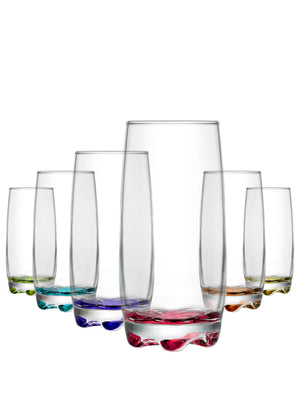 LAV Adora 6-Piece Colored Highball Drinking Glasses 13.25 oz