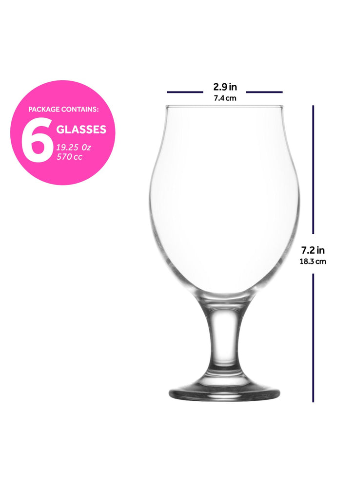 Load image into Gallery viewer, LAV Angelina 6-Piece Belgian Beer Glasses 19.25 oz