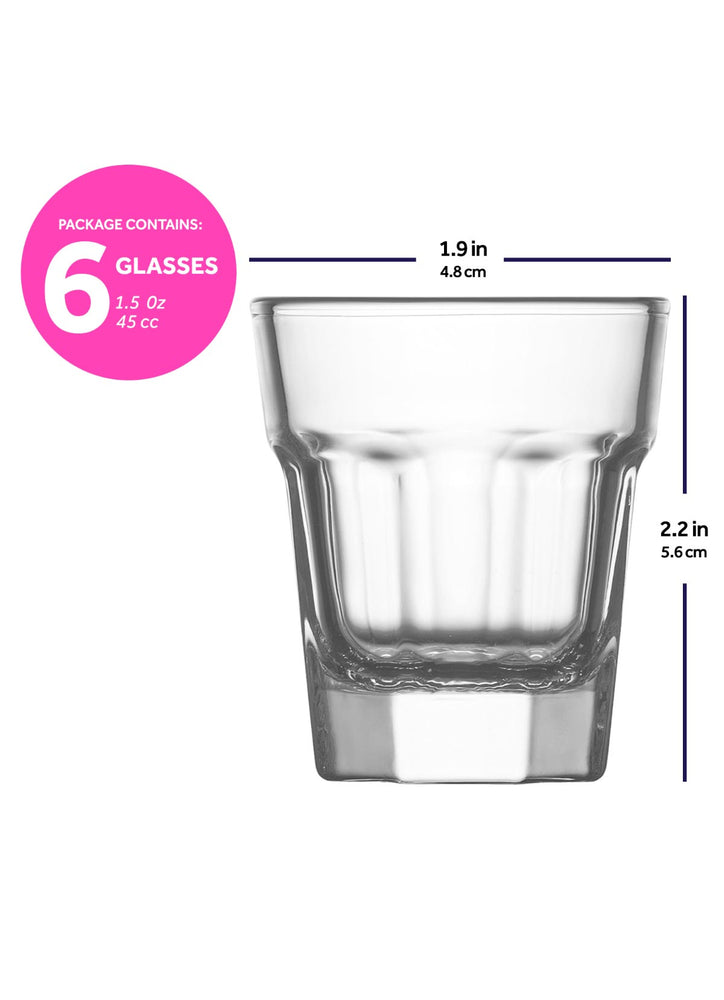 Load image into Gallery viewer, LAV Aras 6-Piece Clear Shot & Espresso Glasses 1.5 oz