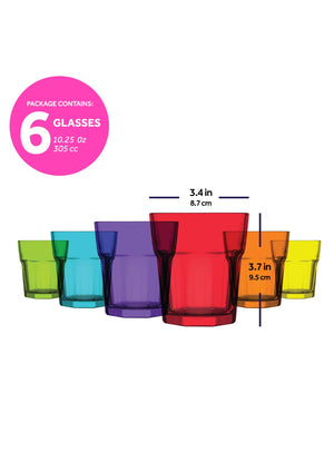 LAV Aras 6-Piece Colored Glass Tumblers 10.25 oz
