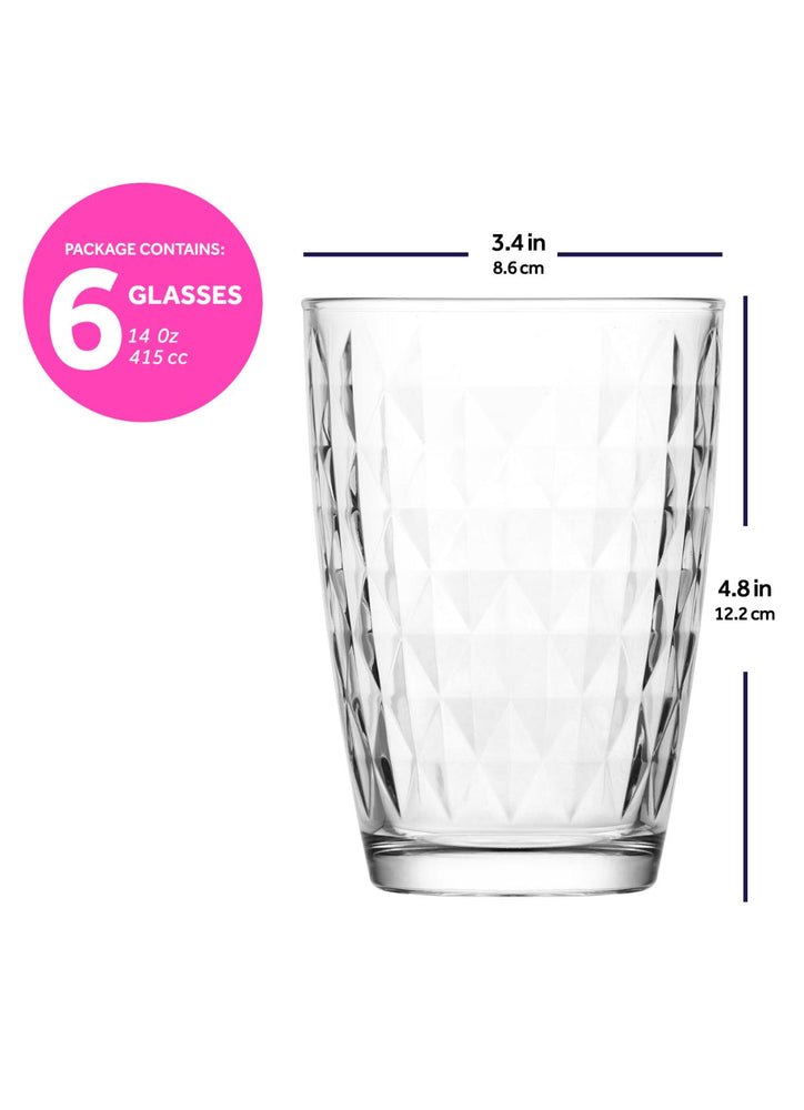 Load image into Gallery viewer, LAV Artemis 6-Piece Clear Drinking Glasses 14 oz