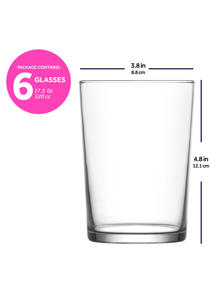 LAV Bodega 6-Piece 17.5 oz Clear Drinking Glasses
