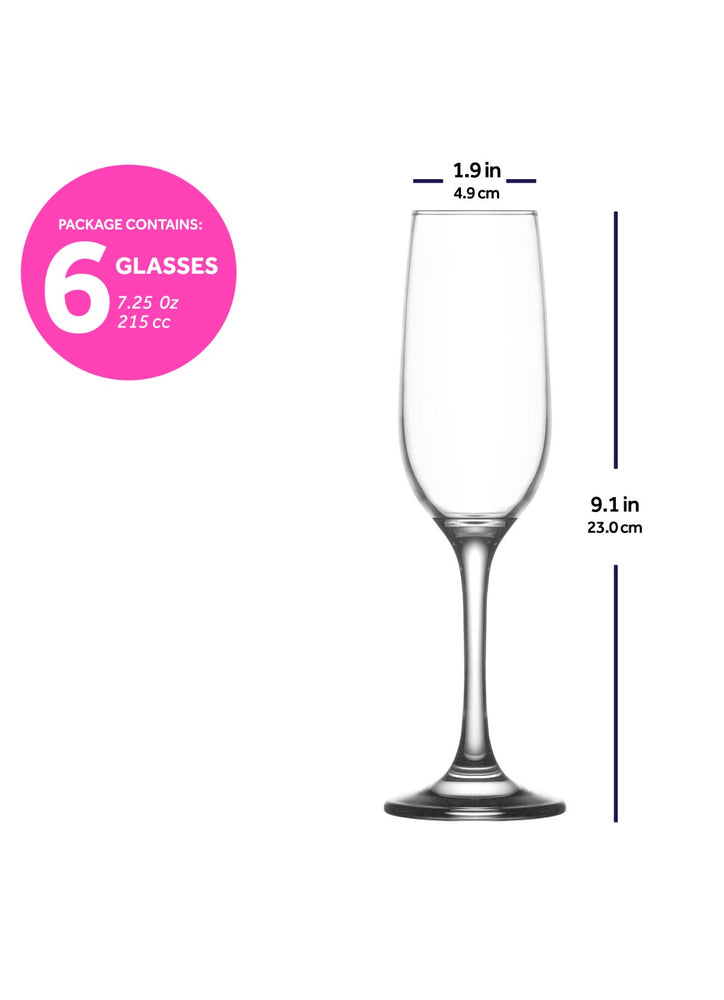 LAV Fame 6-Piece Glass Champagne Flutes 7.25 oz