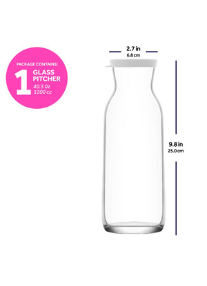 LAV Fonte 40 oz Clear Glass Pitcher Carafe with Lid