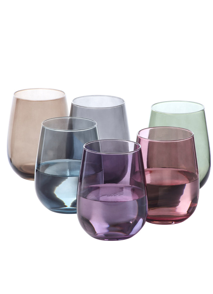 LAV Gaia Colored Stemless Wine Glasses 6-Piece, 16 Oz Colorful Wine Tumblers