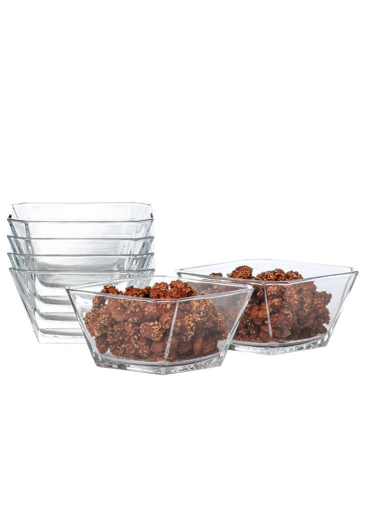 LAV Karen 10 Oz Glass Serving Bowls for Salads & Desserts & Yoghurt 6-Piece