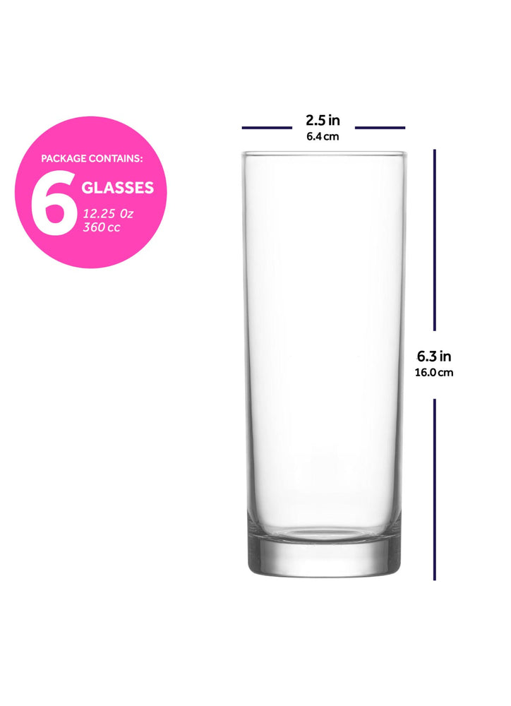 LAV Liberty 6-Piece Long Drink Glasses 12.25 oz