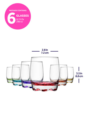 LAV Adora Multicolored Drinking Glasses 6-Piece, 9.5 Oz Colorful Glass Tumblers for Water and Beverages