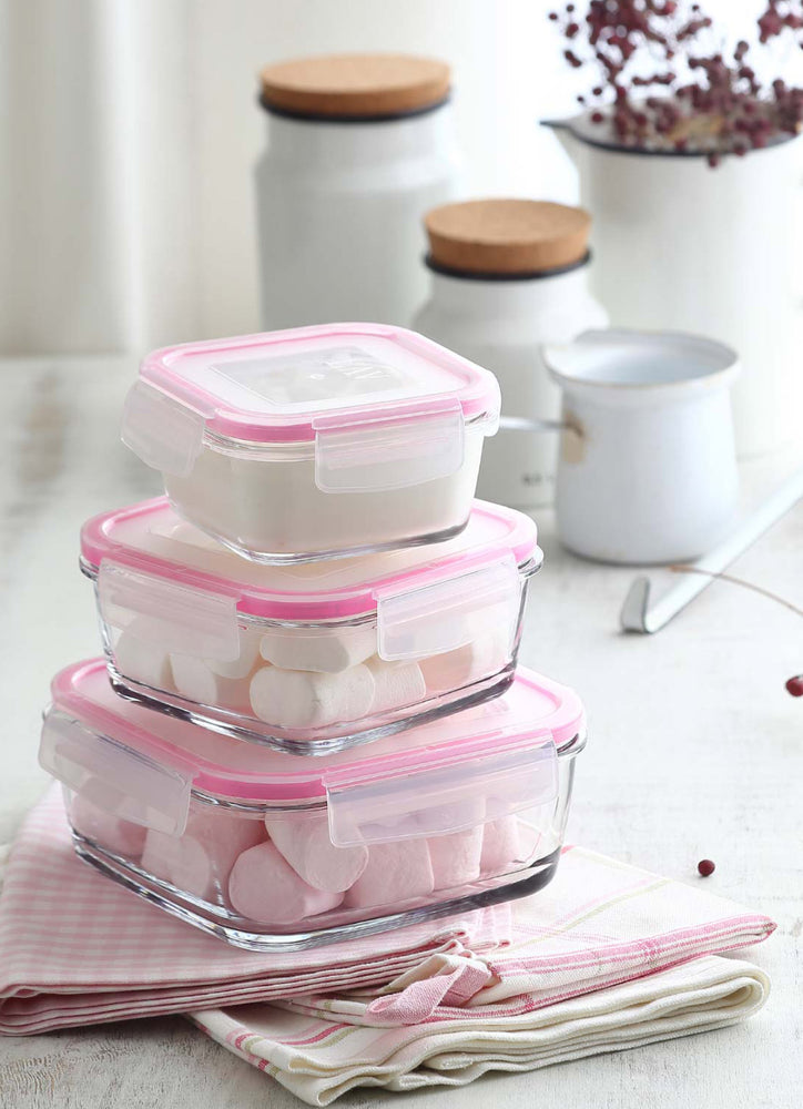 LAV Fresco 3-Piece Glass Food Storage Containers Set with Pink Locking Lids