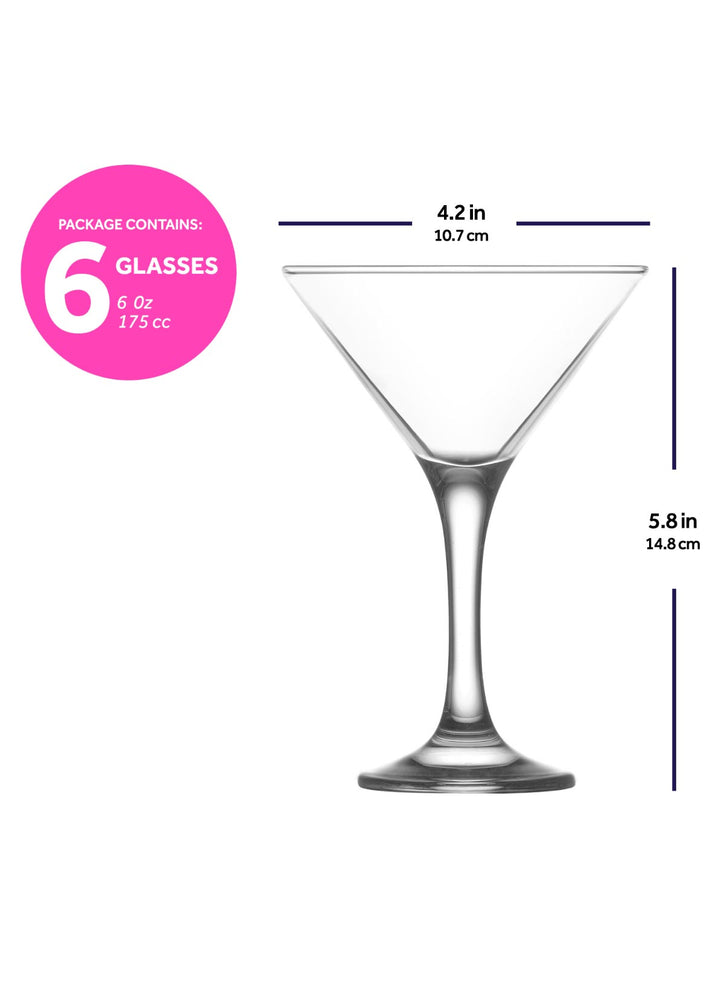 LAV Misket 6-Piece Martini Cocktail Glasses 6 oz