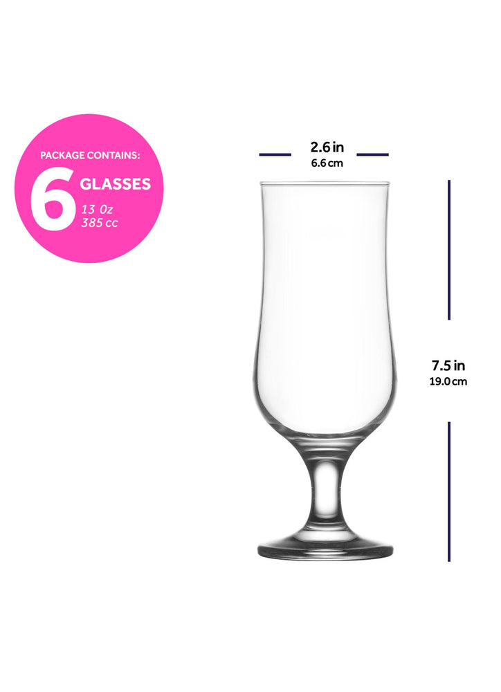LAV Nevakar 6-Piece Hurricane Glasses 13 oz