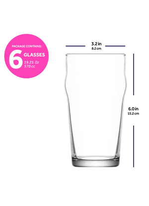 LAV Noniq 6-Piece Beer Pint Glasses 19.25 oz