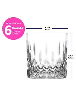 LAV Odin 6-Piece Old Fashioned Cocktail Whiskey Glasses 11.25 oz