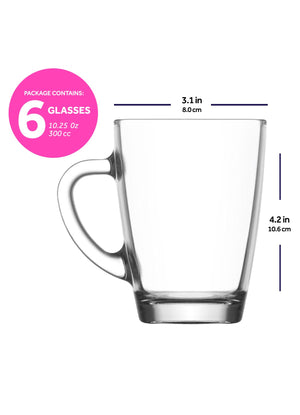 LAV Vega 6-Piece Clear Glass Coffee Mugs with Handles 10.25 oz