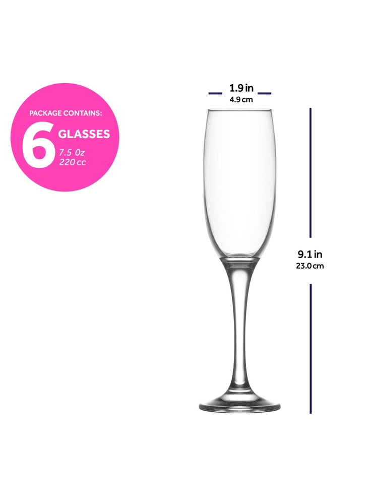 Load image into Gallery viewer, LAV Venue 6-Piece Champagne Glasses 7.5 oz