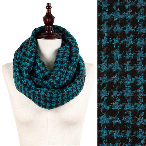 Hound Tooth Pattern Boucle Yarn Knitted Infinity Scarf Tv Girl Bling