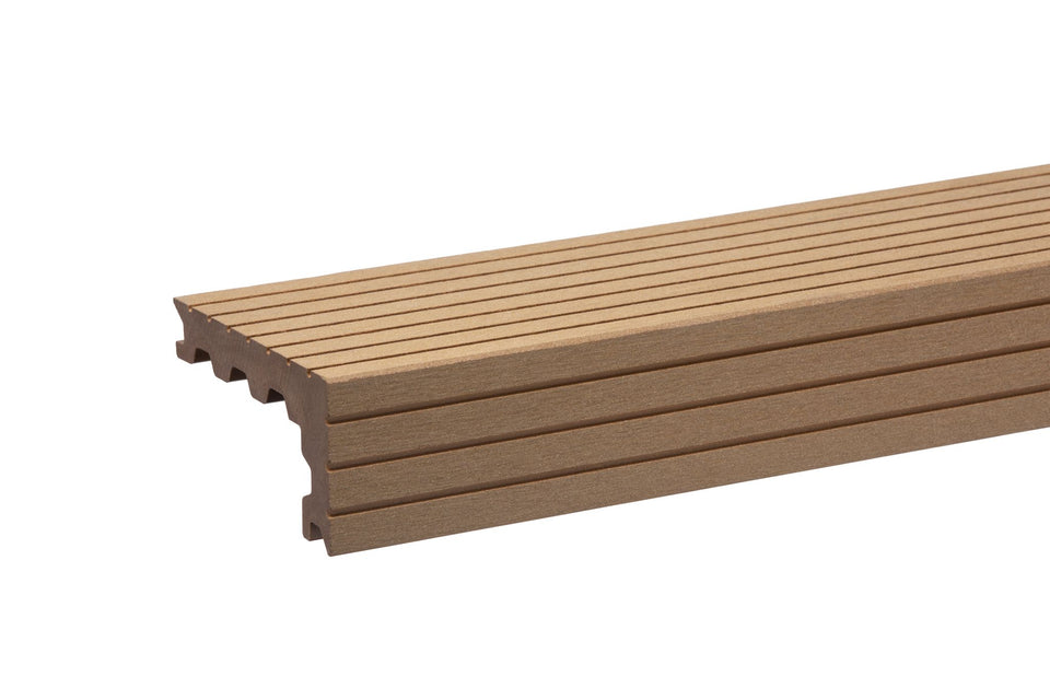 New Oak Composite Decking Step Nosing Fluted