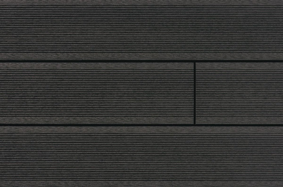 Trekker Anthracite Grooved Mixed Width Decking Board