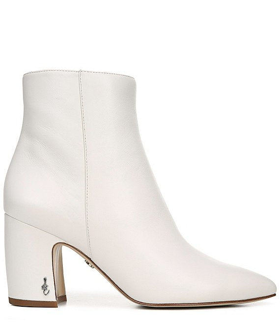 Hilty Leather Block Heel - White