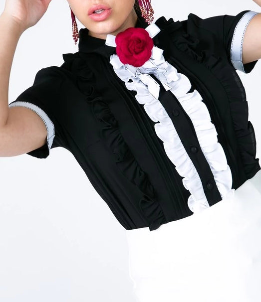 Black Frill Brooch Blouse