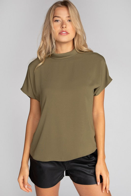 MOCK NECK BACK BUTTON BLOUSE IN OLIVE