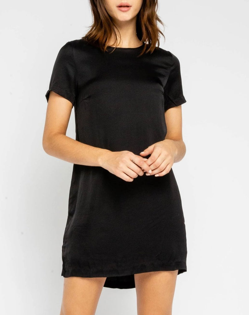 Satin Mini Dress - Black