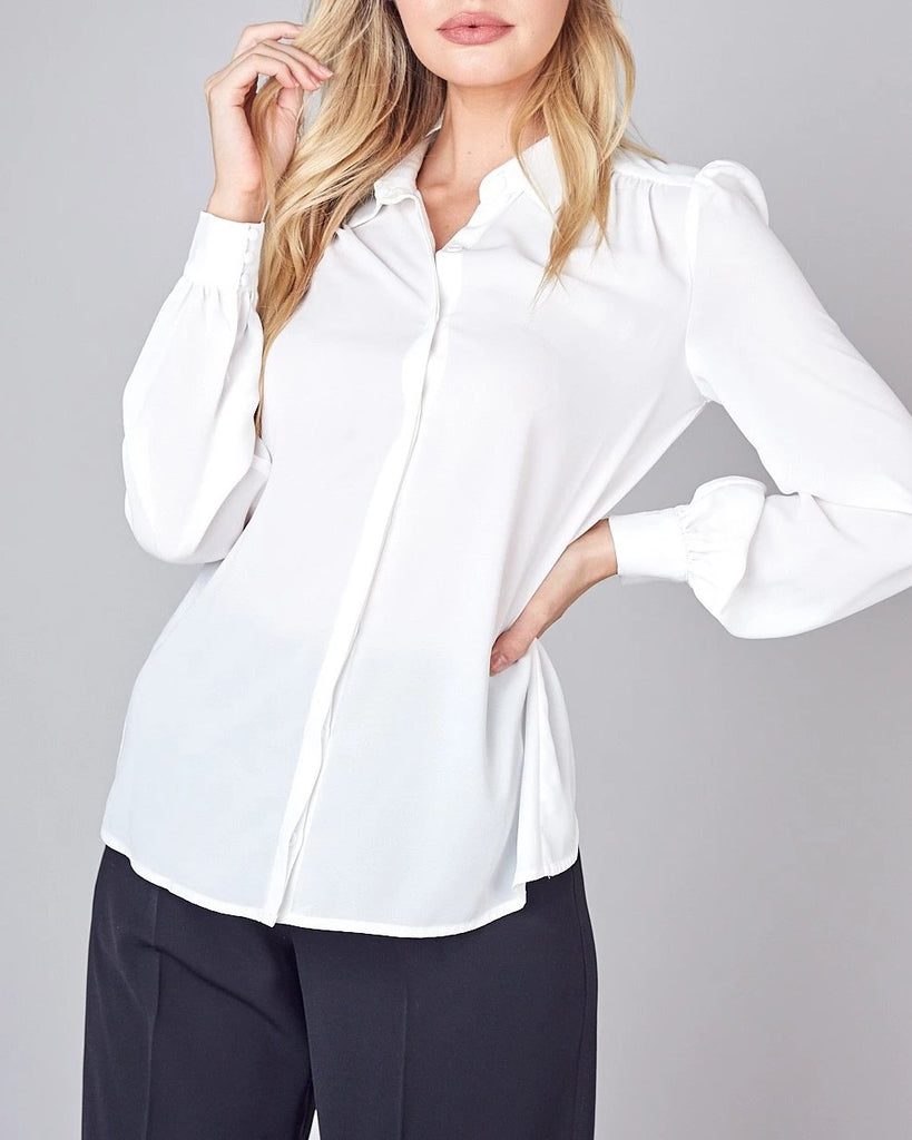 Shirred Button Top - White