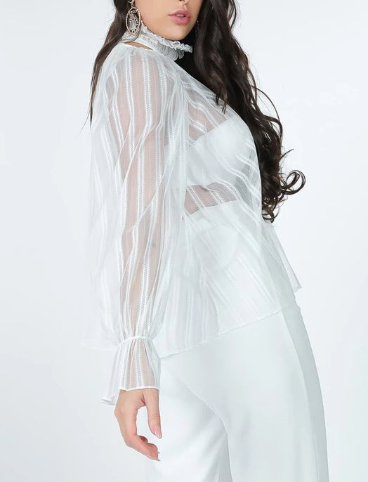 White Striped Sheer Blouse