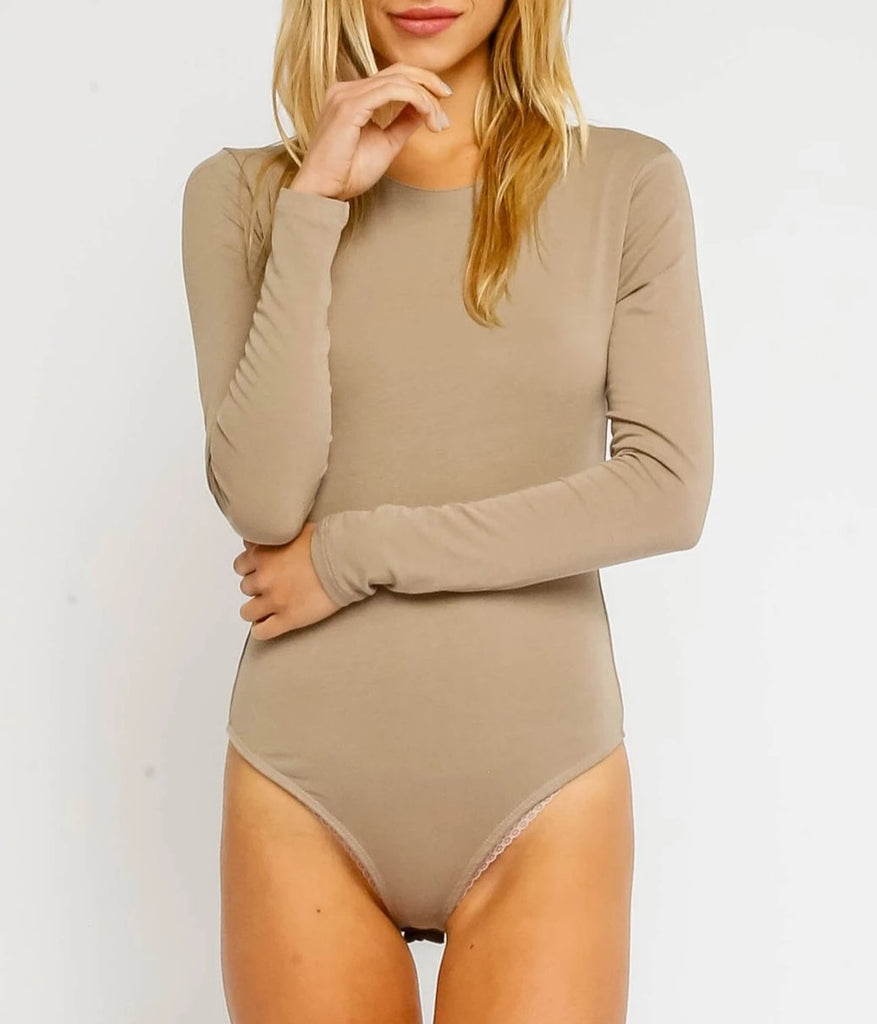 Long Sleeve Bodysuit - Taupe