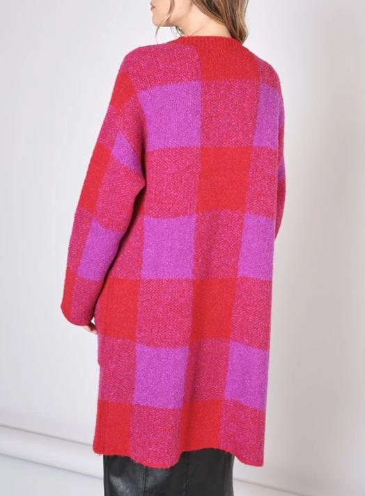 Checkered Cardi - Purple/Red