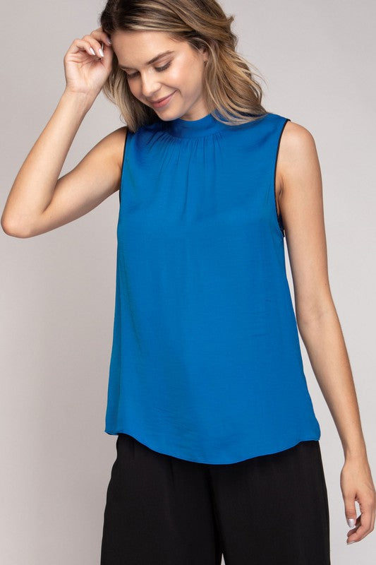 SLEEVELESS MOCK NECK TANK TOP