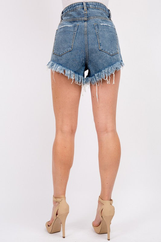 DESTROYED HIGH RISE DENIM SHORTS