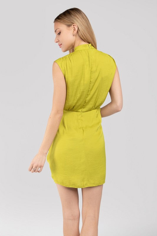 Mock Neck Mini Dress with Front Drawstring Detail