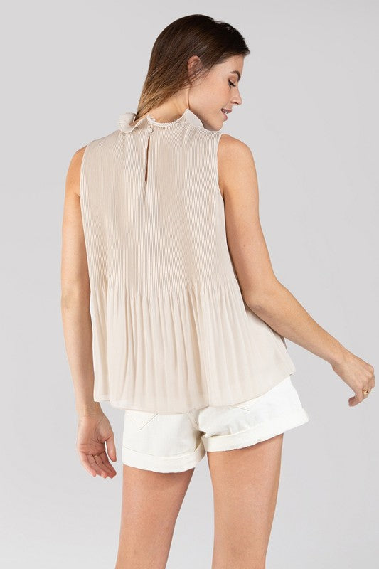 Sleeveless Pleated Laced Neck Top