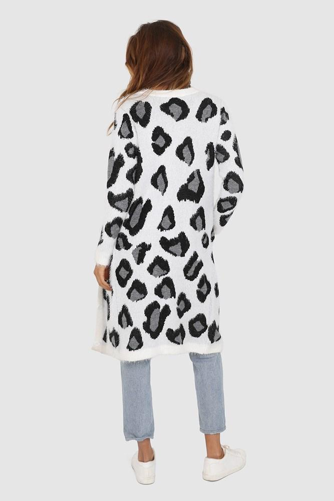 Pia Cardigan - White Leopard 50% OFF